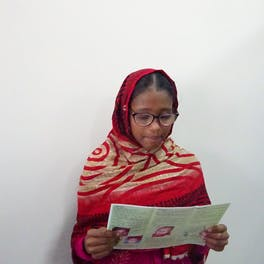 Tania from Bangladesh during her eye examination