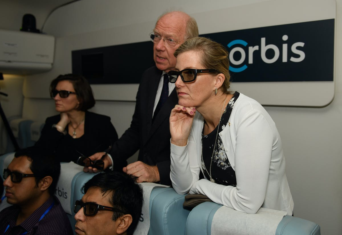 The Countess of Wessex looks through a pair of sunglasses