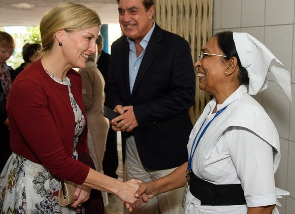 Countess of Wessex meeting Mammoth Adhikary, Flying Eye Hospital nurse from 1985, now head nurse at Islamia