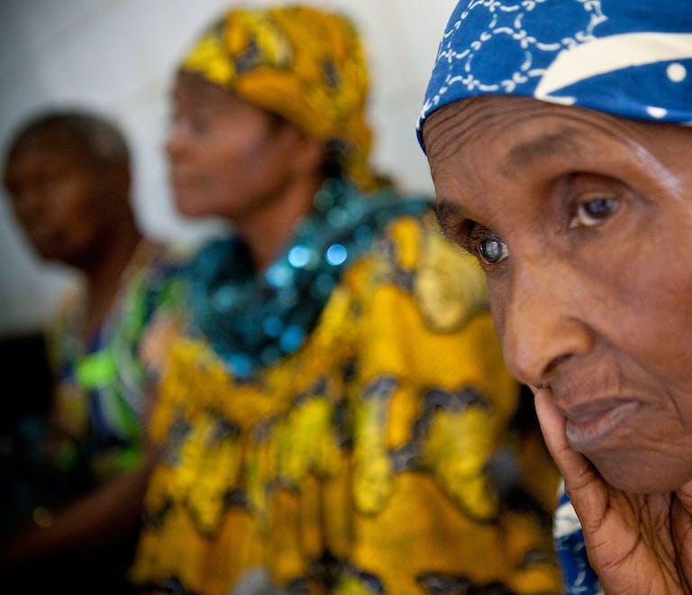 Cameroon cataract patient Aissatou looks into the distance