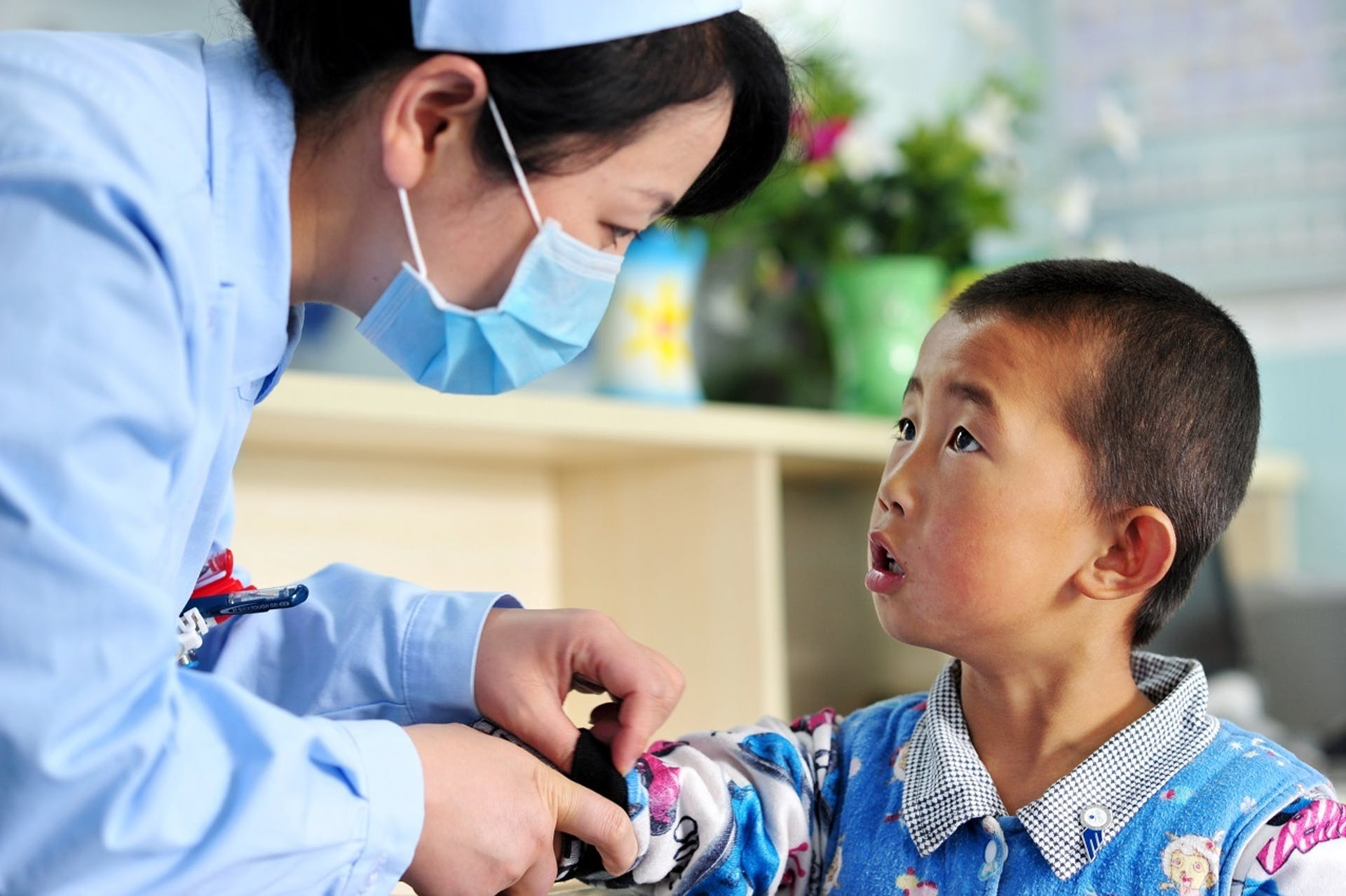 Strabismus patient with nurse in Lanzhou, China
