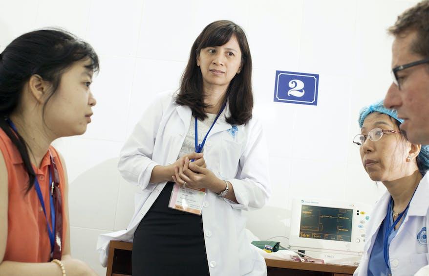 Chinese Orbis volunteer Dr Luu in a classroom