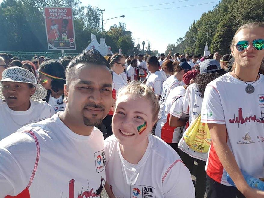 Emma with Orbis UK runner Dhiren from Santander