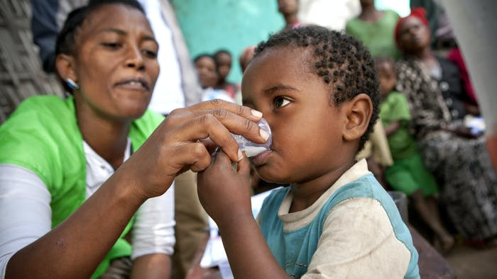 An Ethiopian child is given antibiotic Zithromax to help eradicate trachoma
