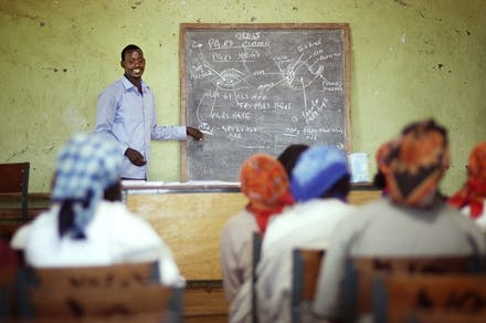 Students sit at desks in teacher training in West Gurage, Ethiopia