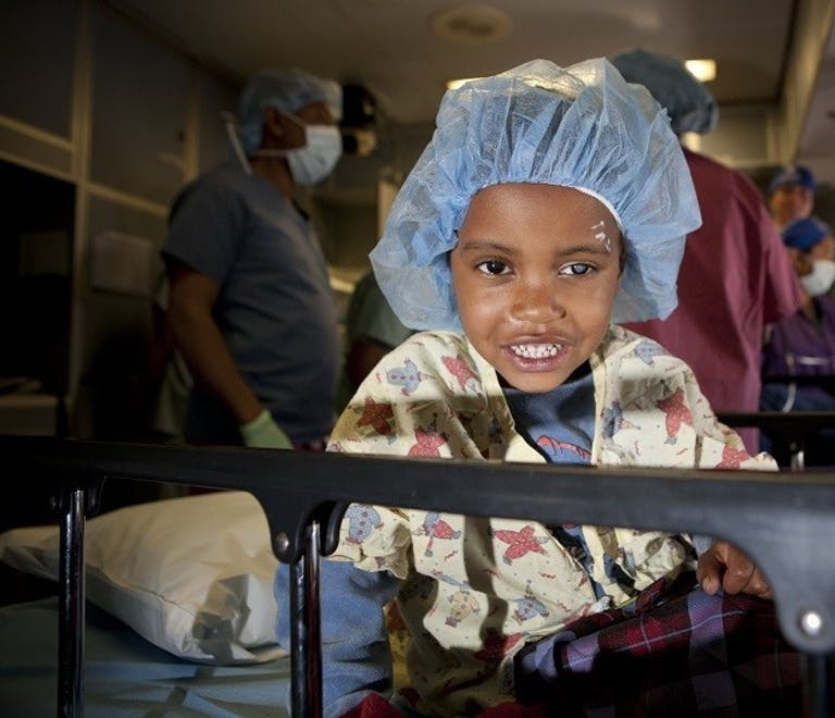 Paediatric patient Nejat before her pre-membranous cataract operation