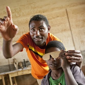 A boy in Ethiopia is screened for Trachoma