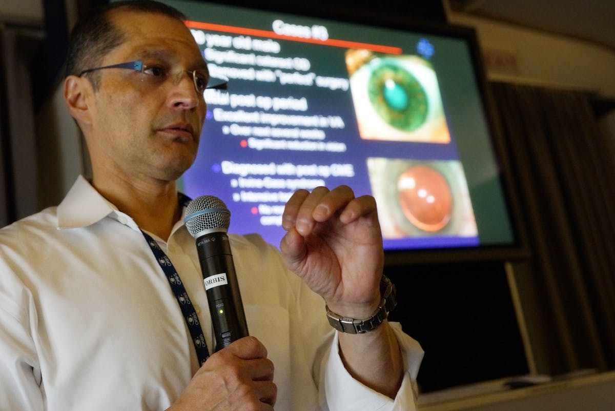 Dr Pravin Dugel lecturing to Nepali and Indian doctors on board the Flying Eye Hospital