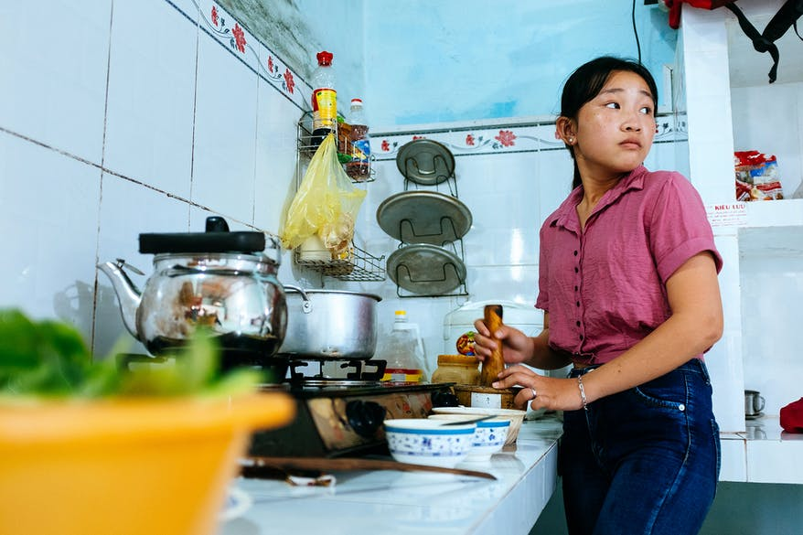 Orbis strabismus patient Trinh cooking, Vietnam