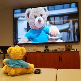Seymour on a teleconference with a friend