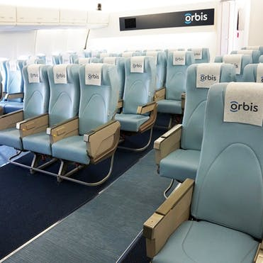 The Flying Eye Hospital classroom, in the belly of the plane, where normal plane seats stretch back