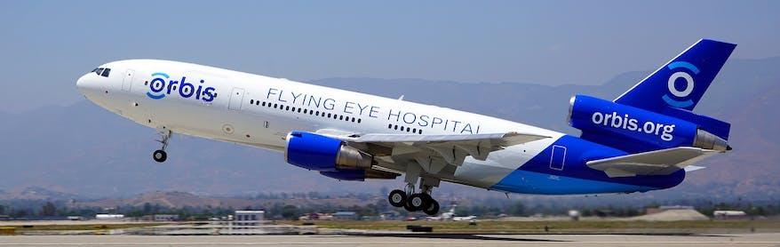 Flying Eye Hospital plane taking off