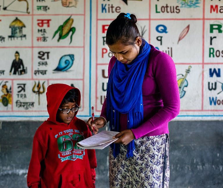 It was teacher Bharati who encouraged student Rabi to attend an eye screening