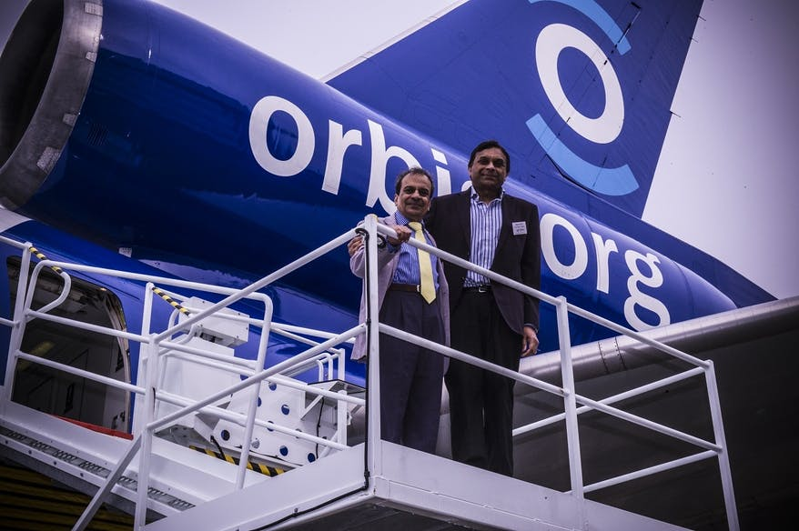 Vinoo Patel and Nilesh Haria from Richfields visited the Flying Eye Hospital at Stansted Airport