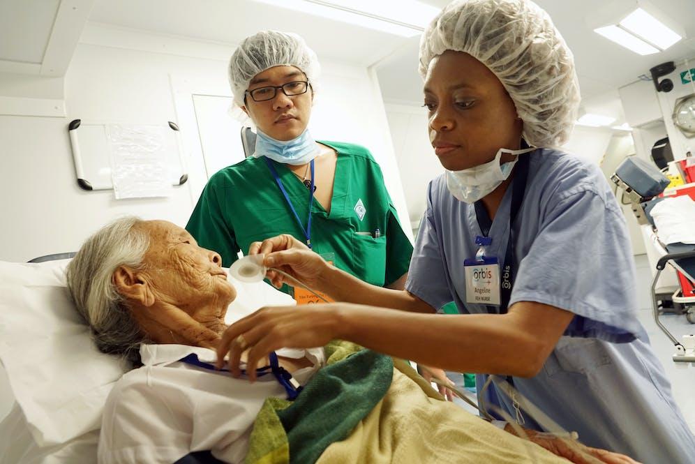 Angelina Chaipa nursing on the Flying Eye Hospital