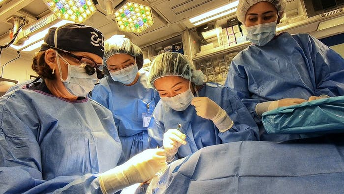 Local eye doctors receive training from Orbis Volunteer Faculty during a Flying Eye Hospital program in Mongolia