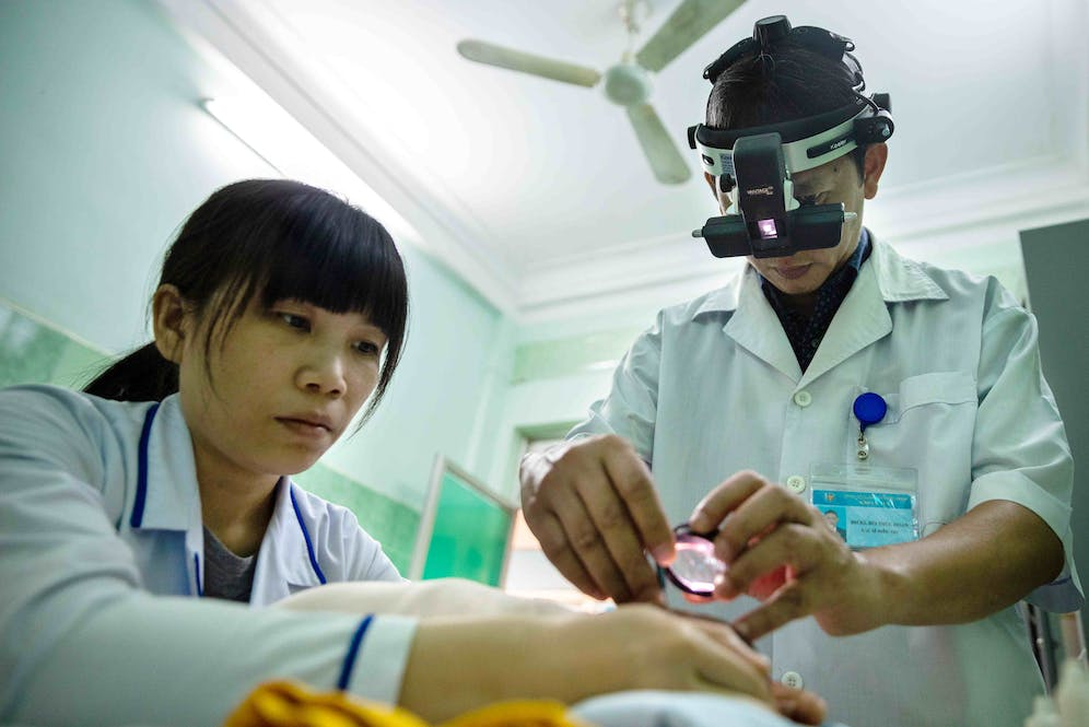 A baby is examined for Retinopathy of Prematurity in Binh Dinh, Vietnam