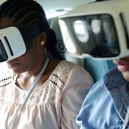 Woman receives eye examination.
