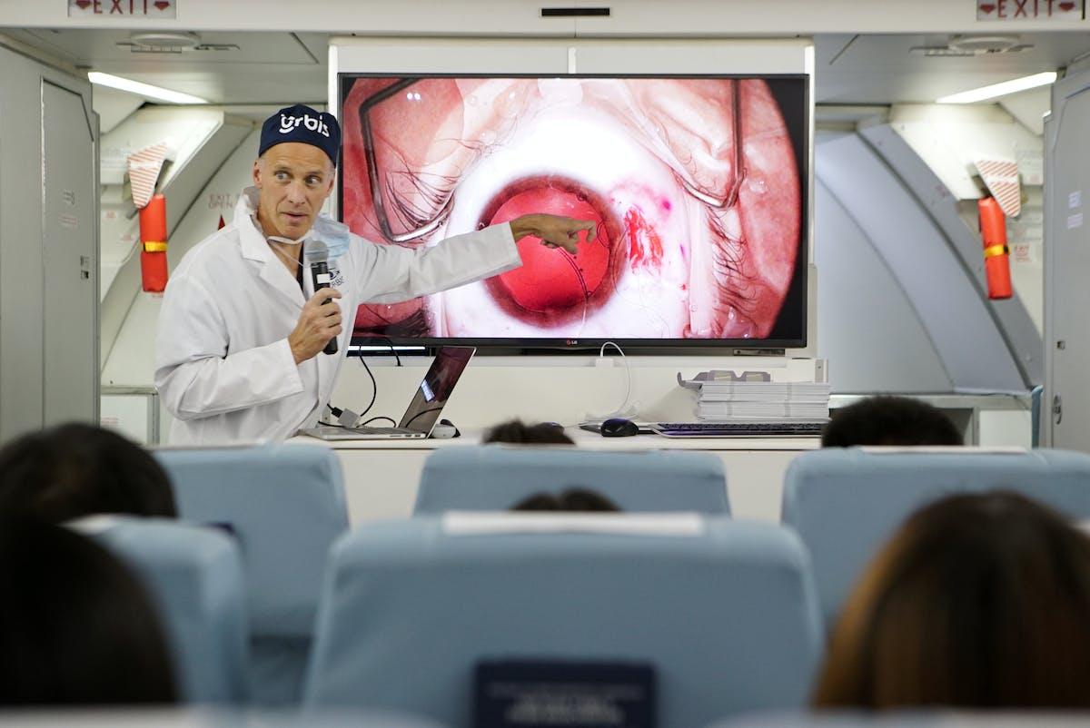 Volunteer Faculty training local eye doctors on board Orbis Flying Eye Hospital in Shenyang in 2016