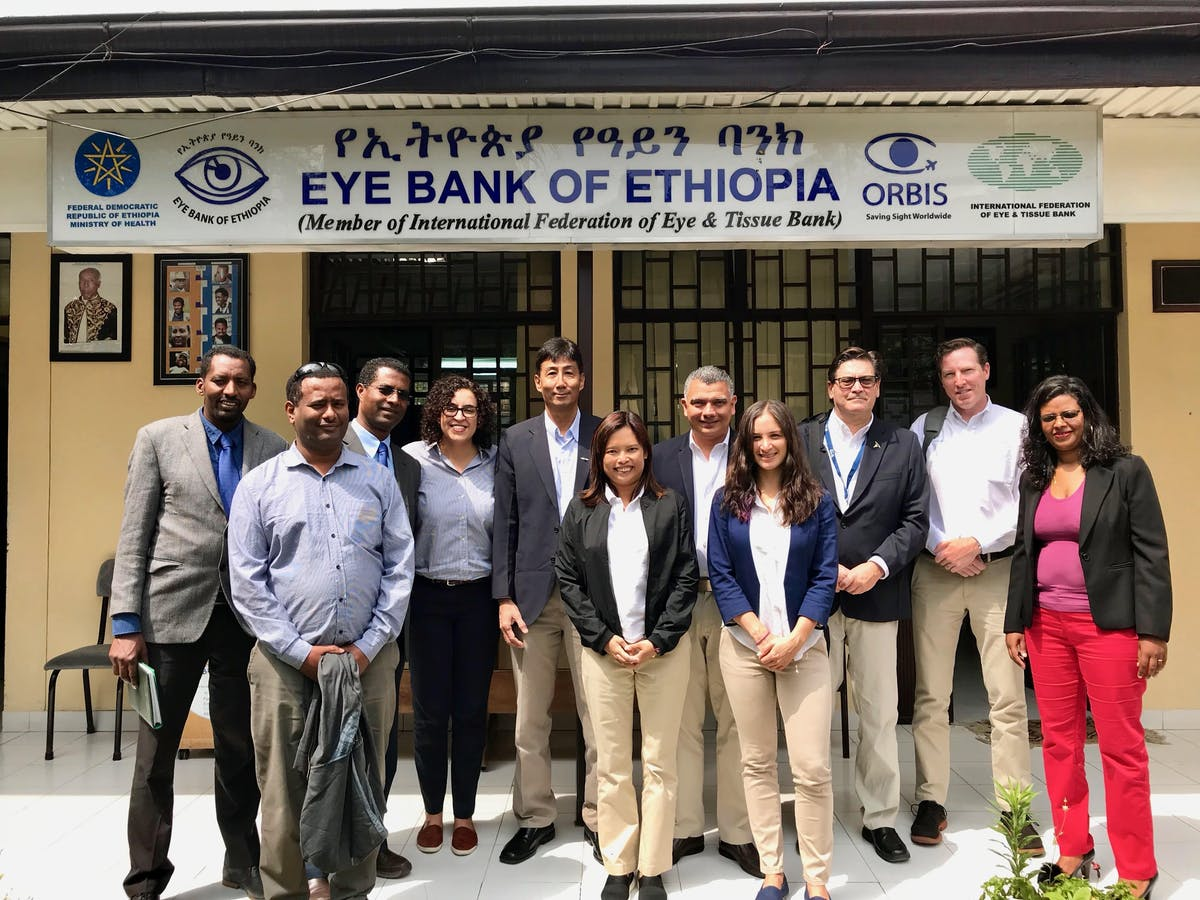 Communications Manager Celia Yeung outside the Eye Bank of Ethiopia