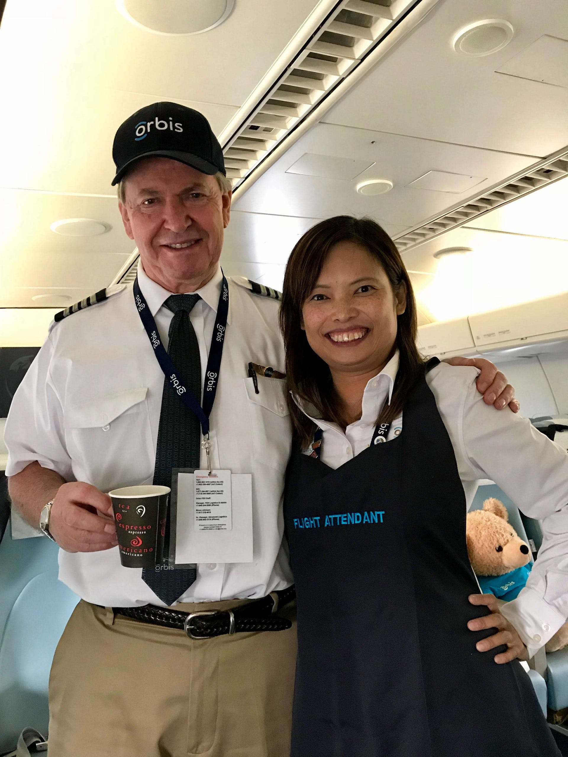 Celia taking on the role of flight attendant on our Orbis Flying Eye Hospital