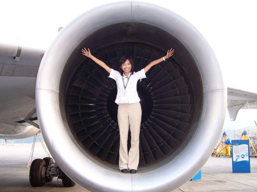 Celia in the Orbis Flying Eye Hospital Plane Engine