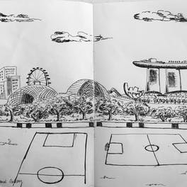 Celia's sketching: Singapore National Gallery