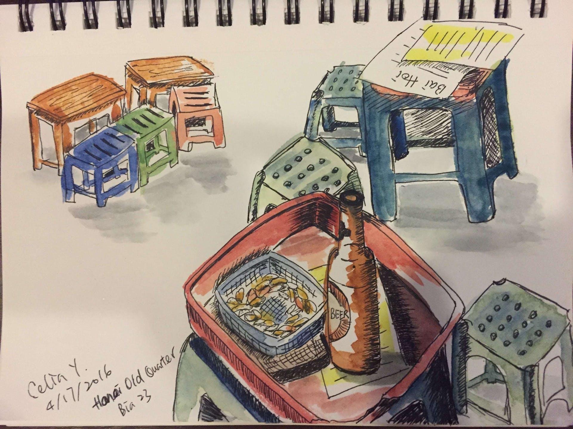 Celia's sketch of the Hanoi Old Quarter
