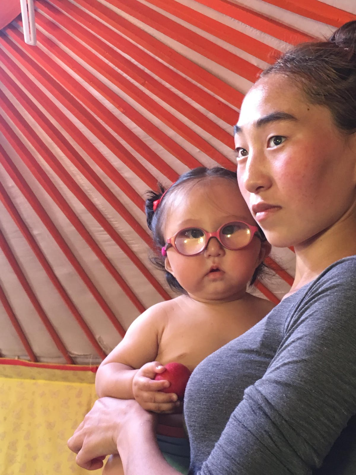 Marla pictured with her mom at her home in Mongolia