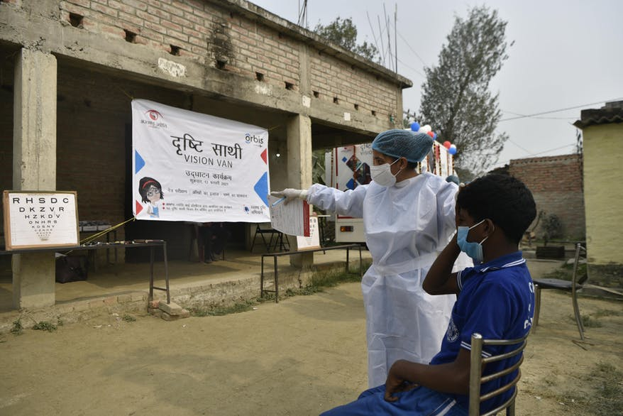 The Vision Van visits local communities in India, carrying out eye screenings