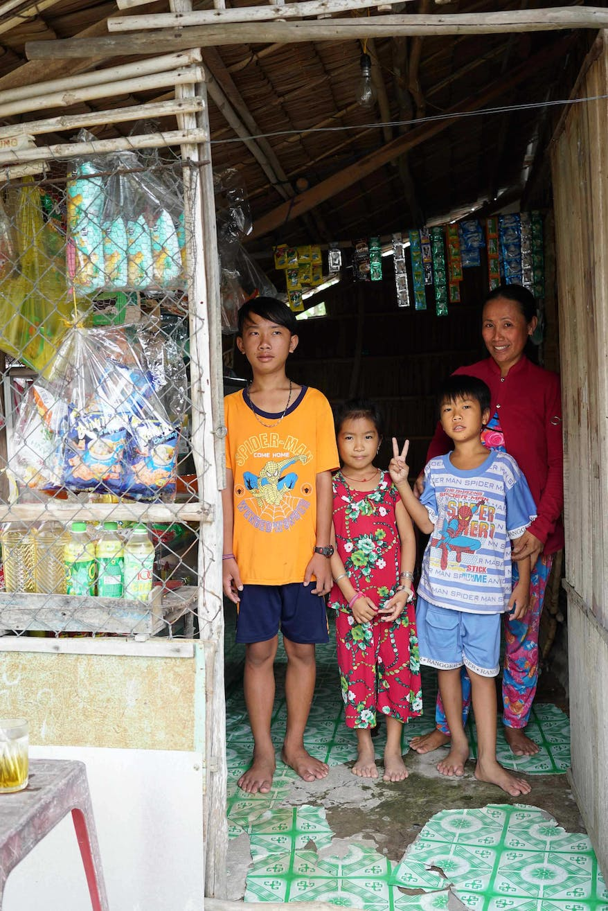 Dai from Vietnam with his family after undergoing cataracts surgery