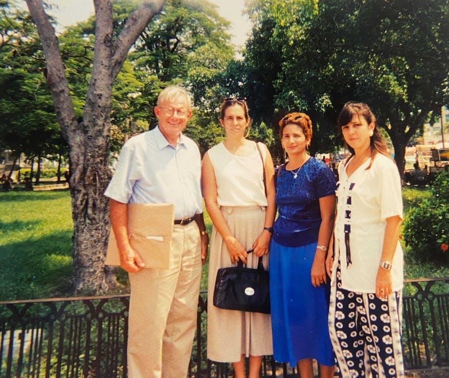 1998: Dr. Eugene Helveston with local eye doctors in Havana, Cuba