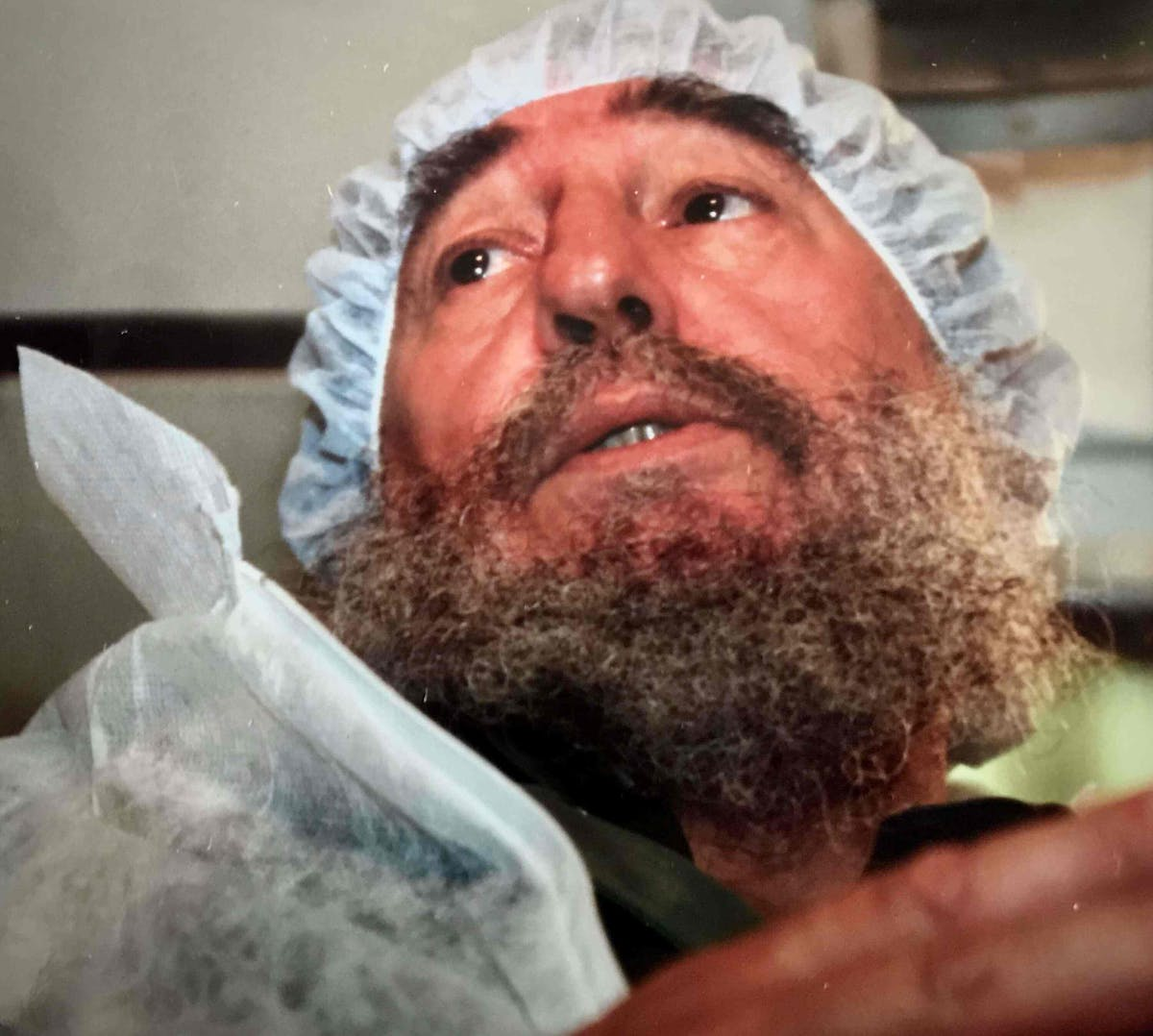 Fidel Castro In Scrubs On The Orbis Flying Eye Hospital in Havana, Cuba