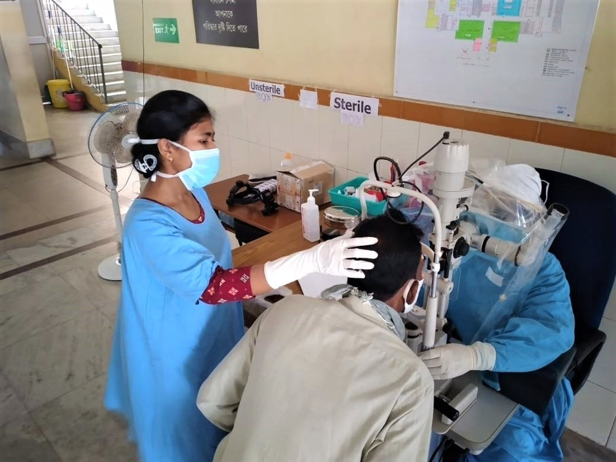 Emergency eye screenings taking place at A patient is screened at at our partner VMANNN Hospital in Haldia, India