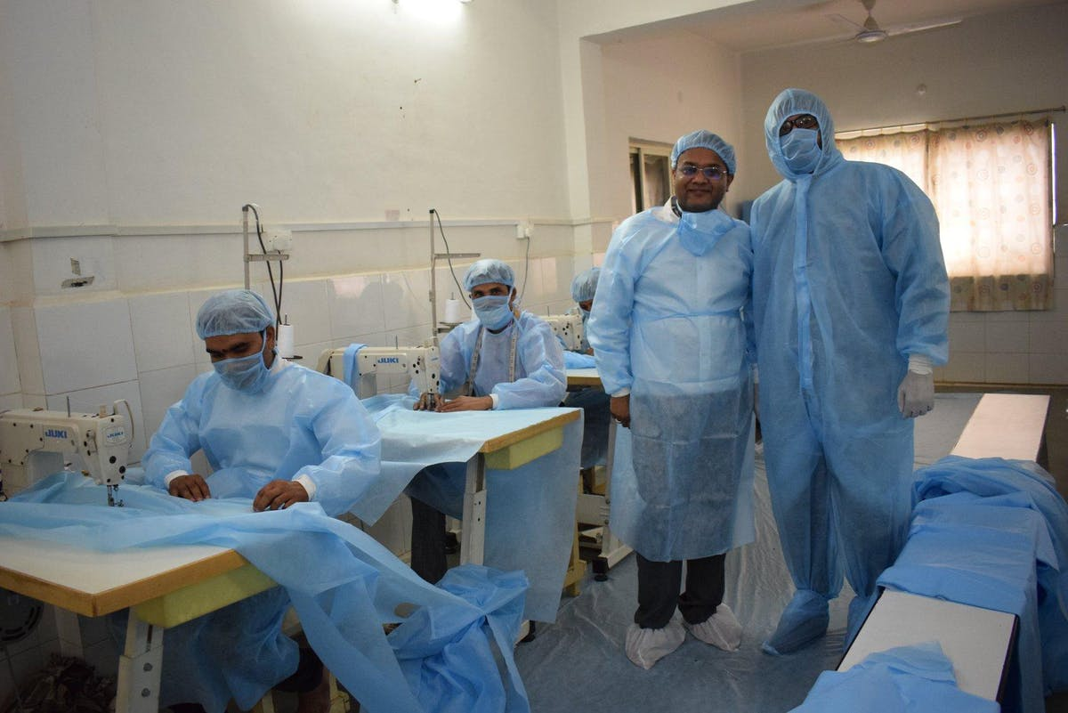 The team were hired to hired full-time to sew masks, gowns, and other medical supplies at Sadguru Netra Chikitsalaya in India