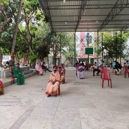 Patients waiting to be seen by the Susrut Eye Foundation and Research Centre, Kolkata, vision van team