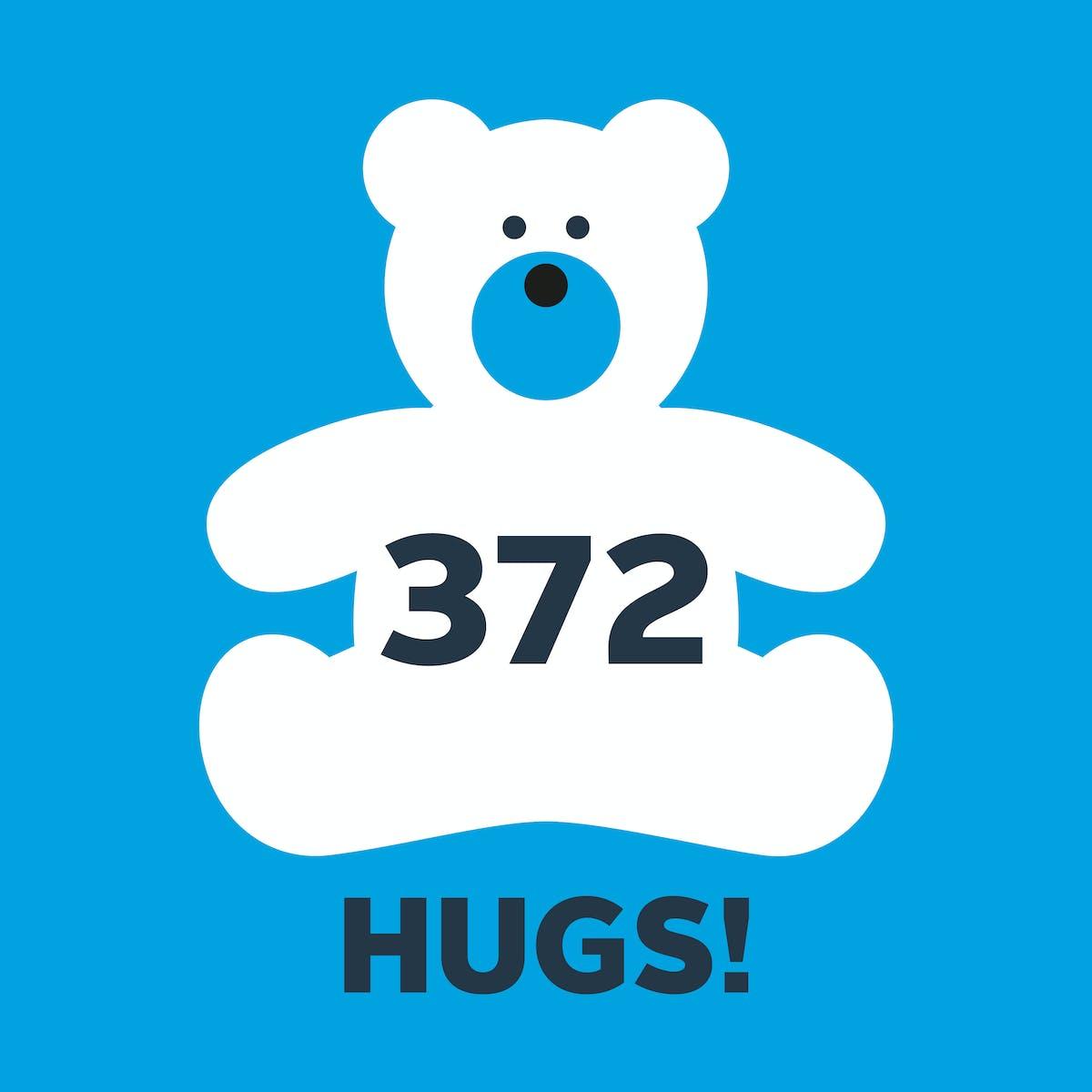 Orbis Flying Eye Hospital Jamaica: Graphic shows Seymour the Bear gave 372 hugs