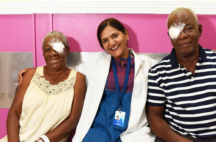 Orbis Flying Eye Hospital Jamaica cataract patient Denzil happy after cataract surgery