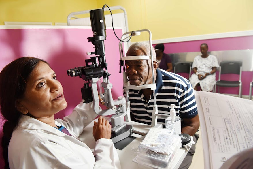 Orbis Flying Eye Hospital Jamaica cataract patient Denzil is screened at a local partner hospital