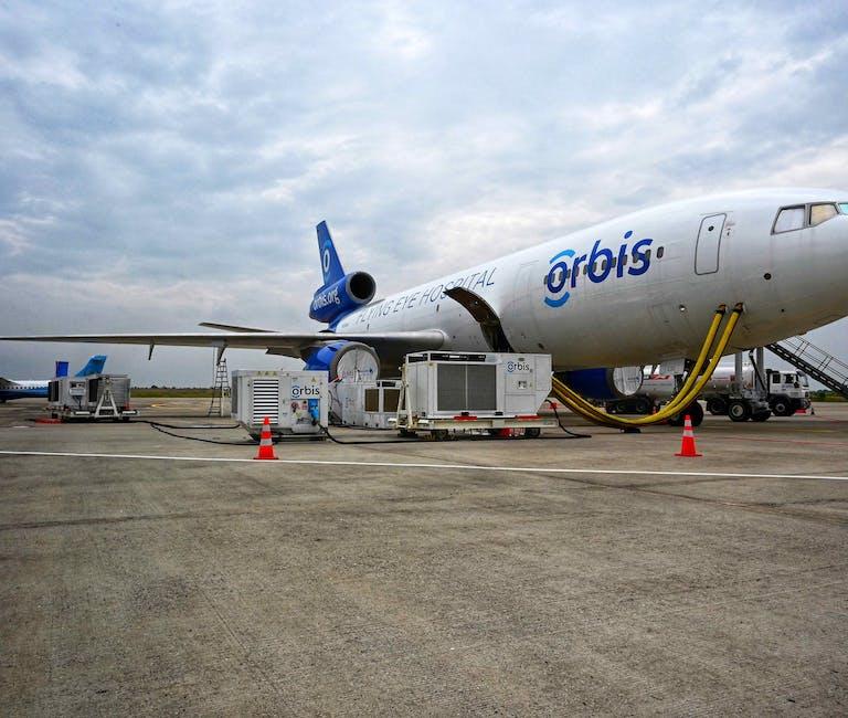 Orbis Flying Eye Hospital sits on the runway in Mandalay, Myanmar