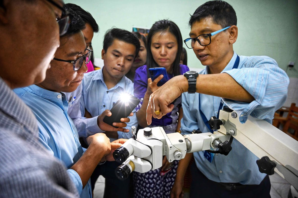 Orbis Flying Eye Hospital Mandalay - biomedical engineers are shown how to best use equipment
