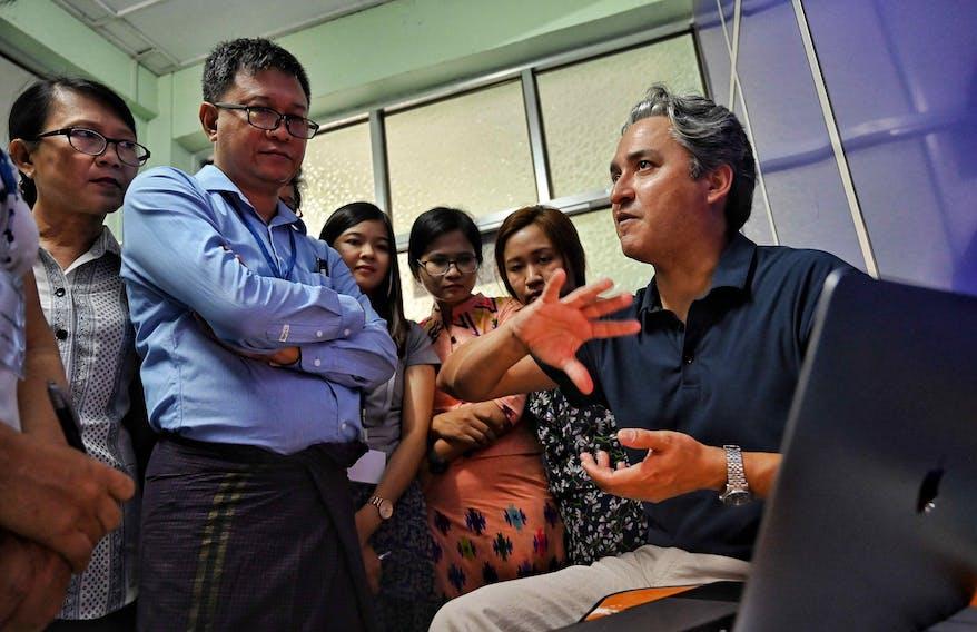 Orbis volunteer faculty  Dr. Lehmann selecting patients on screening day during Flying Eye Hospital project in Myanmar