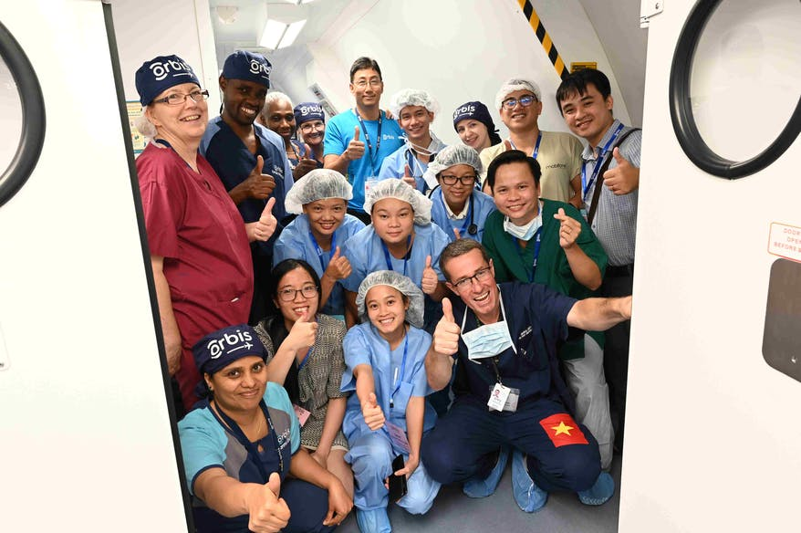 Orbis Flying Eye Hospital staff and volunteers in Vietnam for a three week sight-saving project