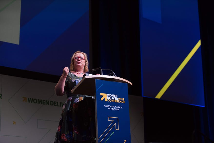 Katja Iversen, CEO of Women Deliver, gives her opening speech