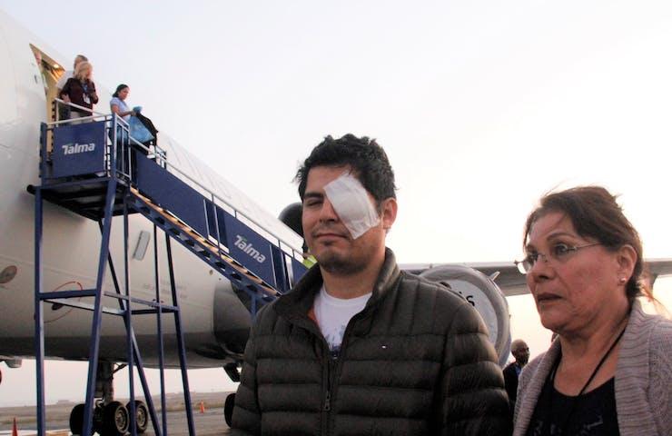 Man wearing eye dressing.