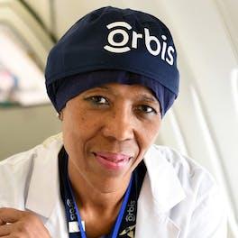 Angela Purcell, Orbis Head Nurse, aboard the Flying Eye Hospital
