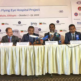 Opening Ceremony duing our 20th anniversary project in Ethiopia in 2018 CEO Bob Ranck, second from left. Speaking is Dr. Alemayehu Sisay Ethiopia country director for Orbis