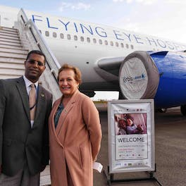The British Ambassador to Ethiopia with Dr. Alemayehu Sisay, Orbis Ethiopia Country Director, outside the Orbis Flying Eye Hospital