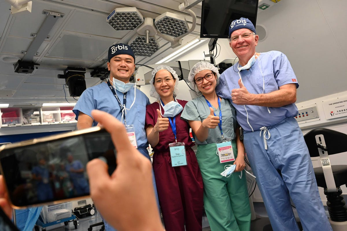 Dr. Alward with fellow Vietnamese physicians on our Flying Eye Hospital project in Hue