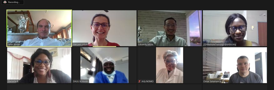 Dr. Peter Kertes trains ophthalmolgists in Cameroon during a virtual Flying Eye Hospital program
